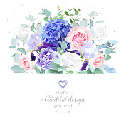 Floral design vector border in watercolor style. Rose, hydrangea, eucalyptus, iris, carnation. Pink, violet, white spring wedding flowers. Botanical greenery set.All elements are isolated and editable