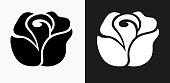 Rose Icon on Black and White Vector Backgrounds