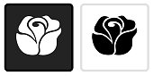 Rose Icon on  Black Button with White Rollover. This vector icon has two  variations. The first one on the left is dark gray with a black border and the second button on the right is white with a light gray border. The buttons are identical in size and will work perfectly as a roll-over combination.. This vector icon has two  variations. The first one on the left is dark gray with a black border and the second button on the right is white with a light gray border. The buttons are identical in size and will work perfectly as a roll-over combination.