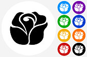 Rose Icon on Flat Color Circle Buttons. This 100% royalty free vector illustration features the main icon pictured in black inside a white circle. The alternative color options in blue, green, yellow, red, purple, indigo, orange and black are on the right of the icon and are arranged in two vertical columns.