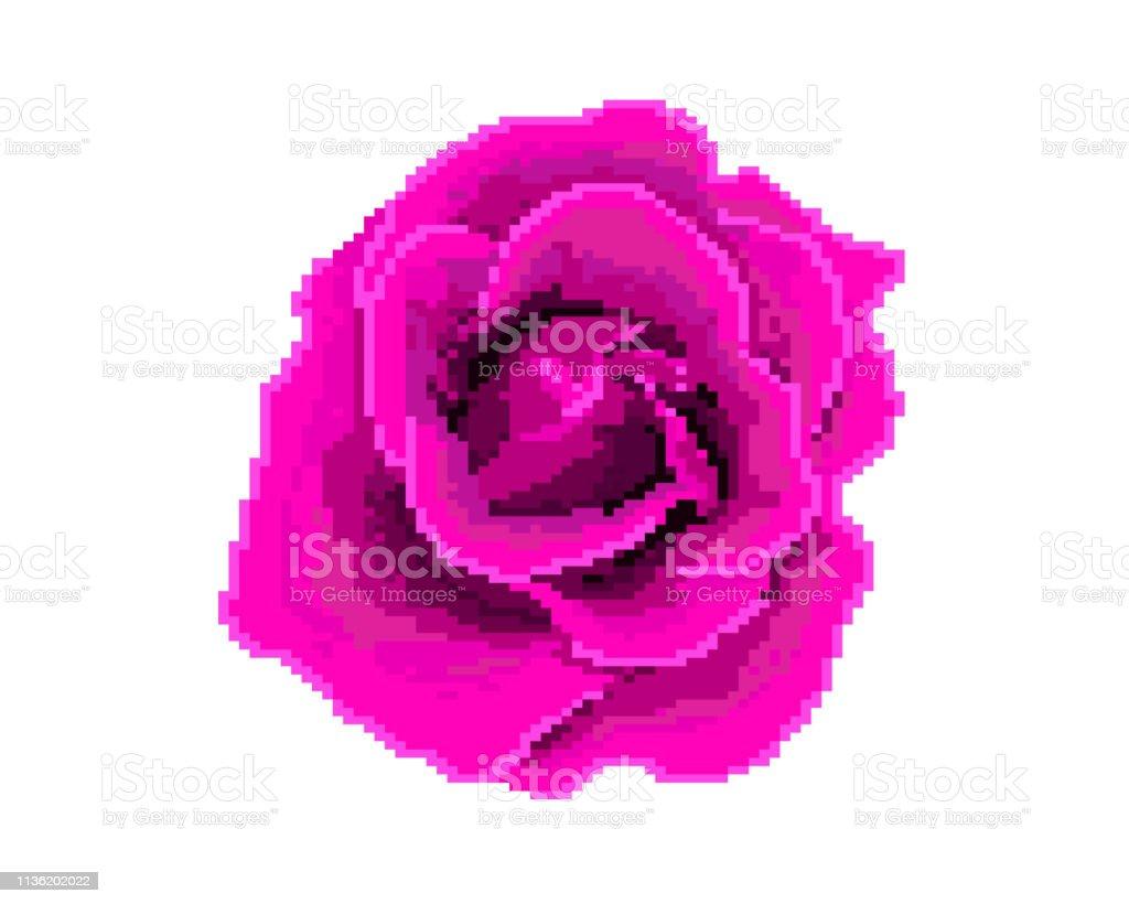 Rose Icon Pixel Art Logo Of The Flower Shop Stock