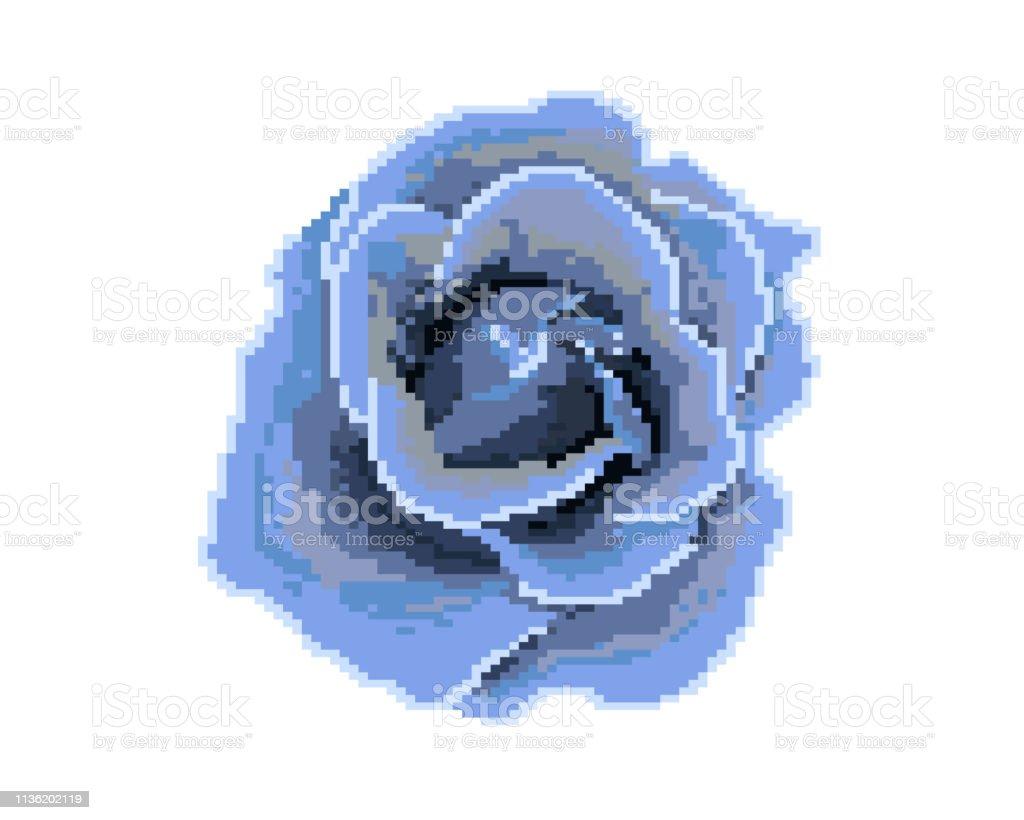 Icône Rose Pixel Art Logo De La Boutique De Fleurs Vecteurs