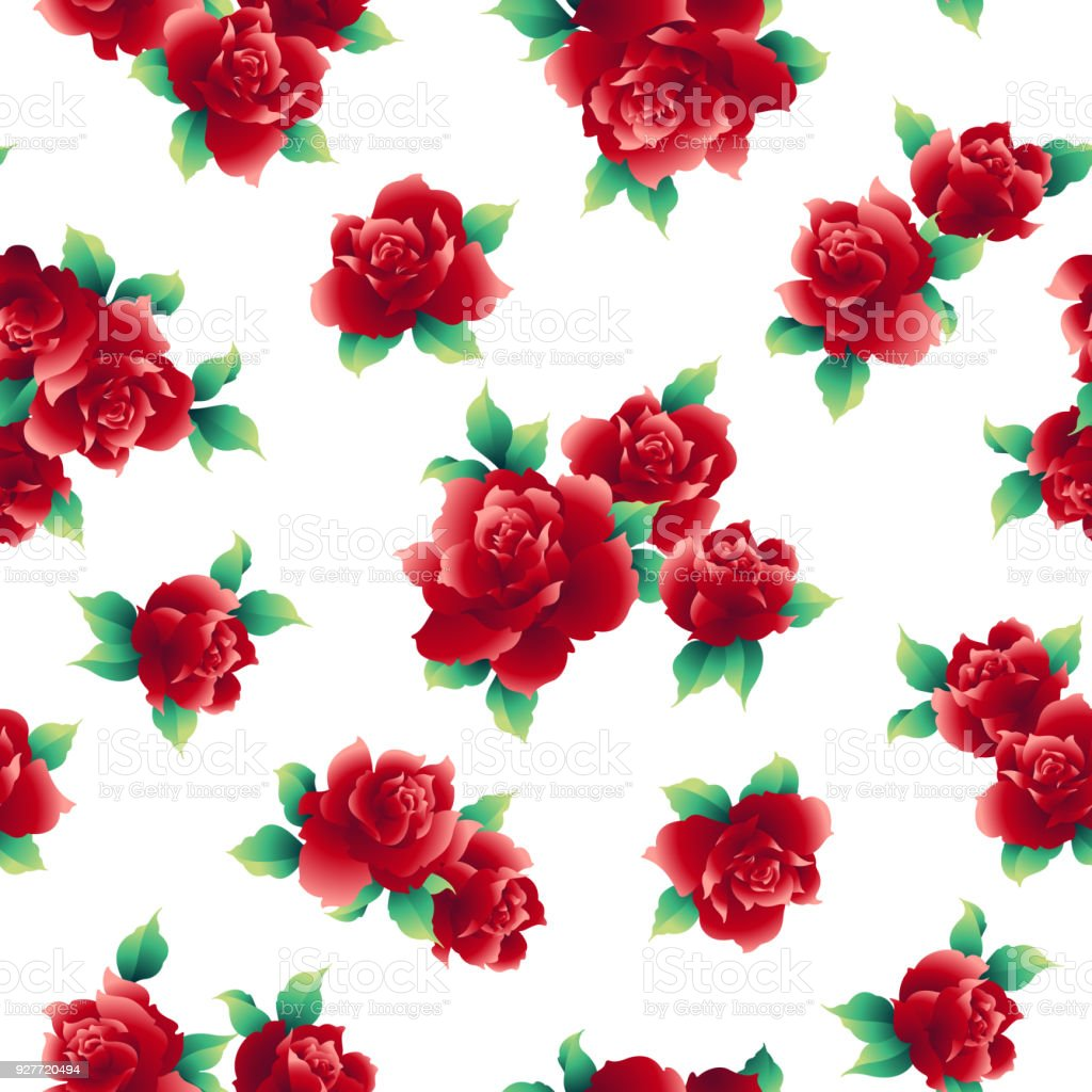 Rose Illustration Pattern Stock Vector Art More Images Of Beauty
