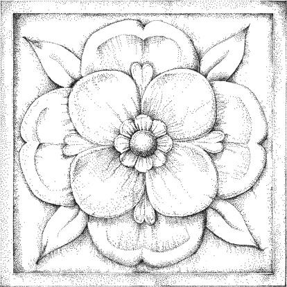 Rose Illustration, stippled.