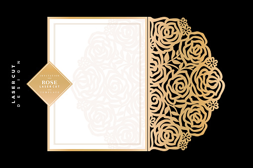 Rose Laser cut, minimalist floral laser cut gold paper, flower template design