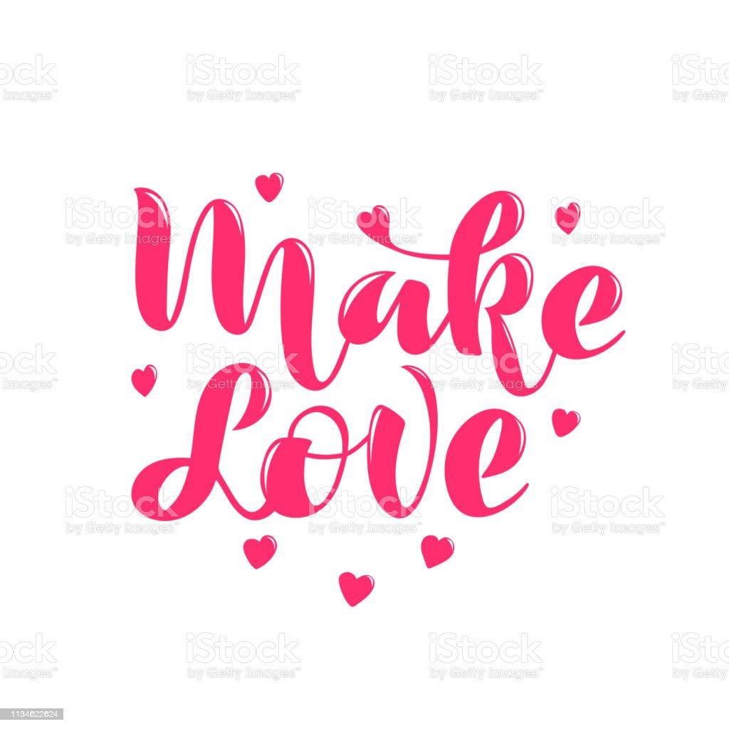 vector illustration with rose lettering phrase Make love