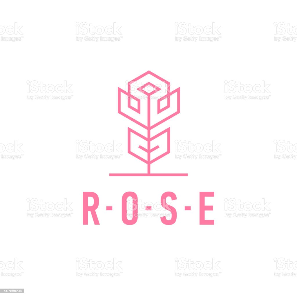 Rose Linear Symbol Rosa Blume Symbol Vorlage Vektorillustration ...