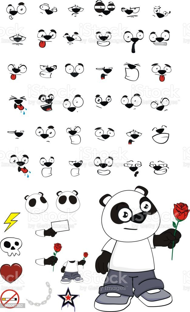 rose little panda bear kid expressions set royalty-free rose little panda bear kid expressions set stock vector art & more images of angel