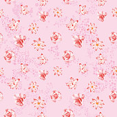 Beautiful flowers rose and lotus seamless pattern. Realistic vector illustration on the pink circle background