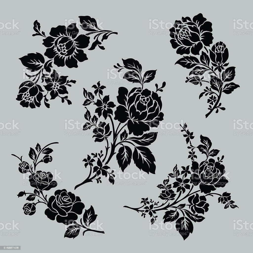 Rose motif set. vector art illustration