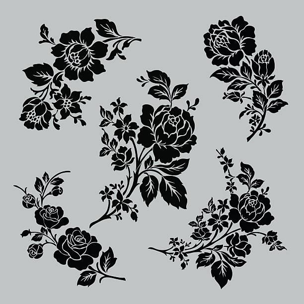 illustrations, cliparts, dessins animés et icônes de motif de rose ensemble. - tatouages de fleurs