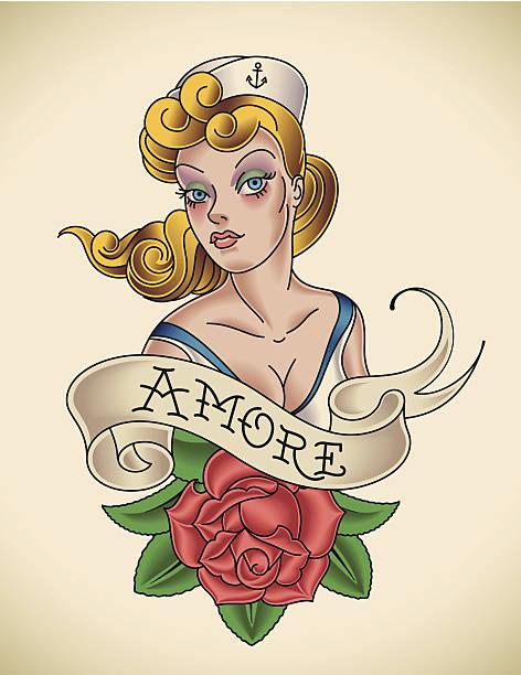 illustrations, cliparts, dessins animés et icônes de rose de amore - tatouages marins