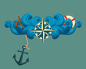 Vector icon, sticker, t-shirt design, label design template. Rose of the winds and symmetrical stylized waves with ship's wheel, lifebuoy and anchor isolated on white background.