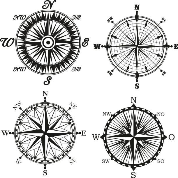 ilustrações de stock, clip art, desenhos animados e ícones de rose of wind compass retor vector icons - sextante