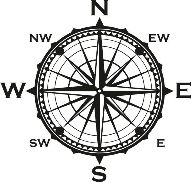 ilustrações de stock, clip art, desenhos animados e ícones de rose of winds icon, vector navigator compass - sextante