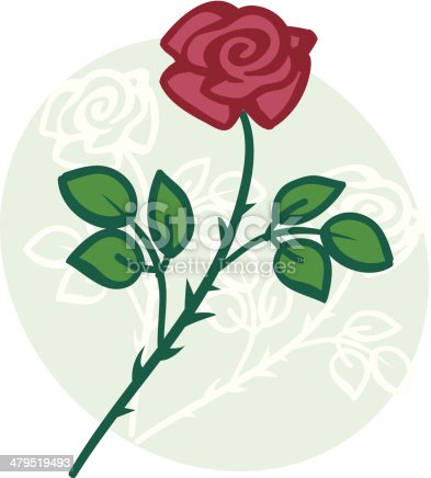 Vector rose. Flower is repeated in white on the background. No strokes - only fills!