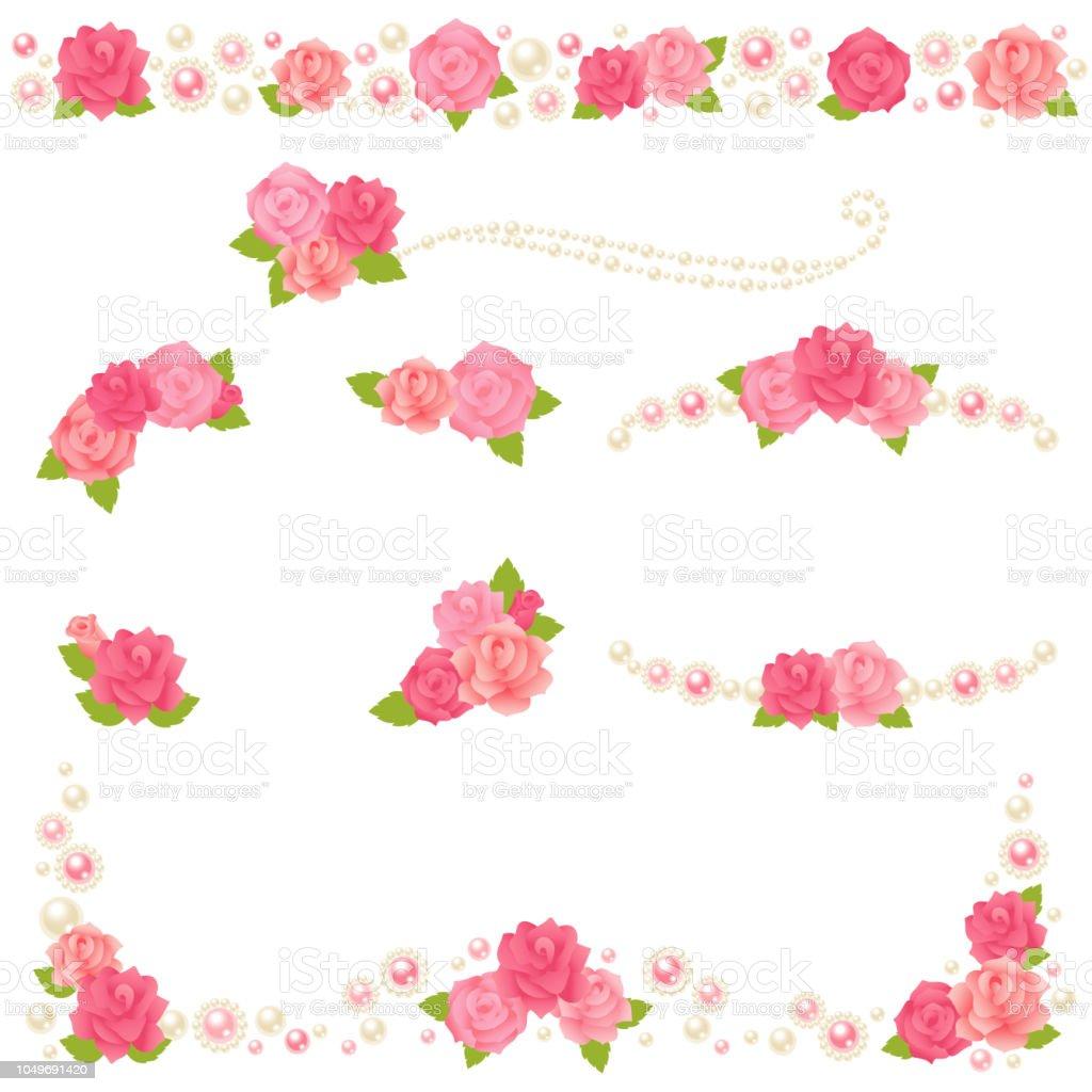 rose pearl frame. vector art illustration