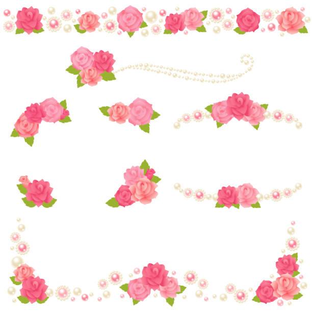 rosa perle rahmen. - hochzeitsanstecker stock-grafiken, -clipart, -cartoons und -symbole