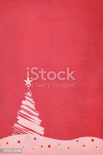 istock Rose pink colored dotted Xmas tree over maroon red colored rippled effect gradient grunge vector Christmas background. Illustration 1075315164