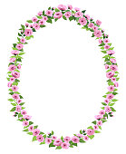 a vertical oval frame made of pink roses