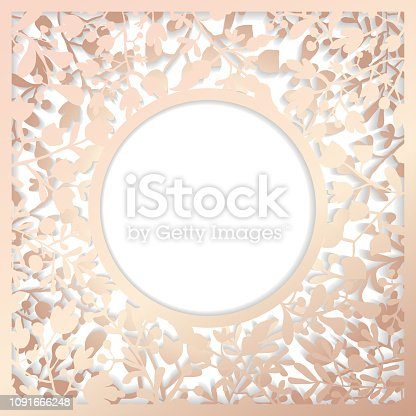 Rose quartz floral paper-cut art with two layers and shadow.