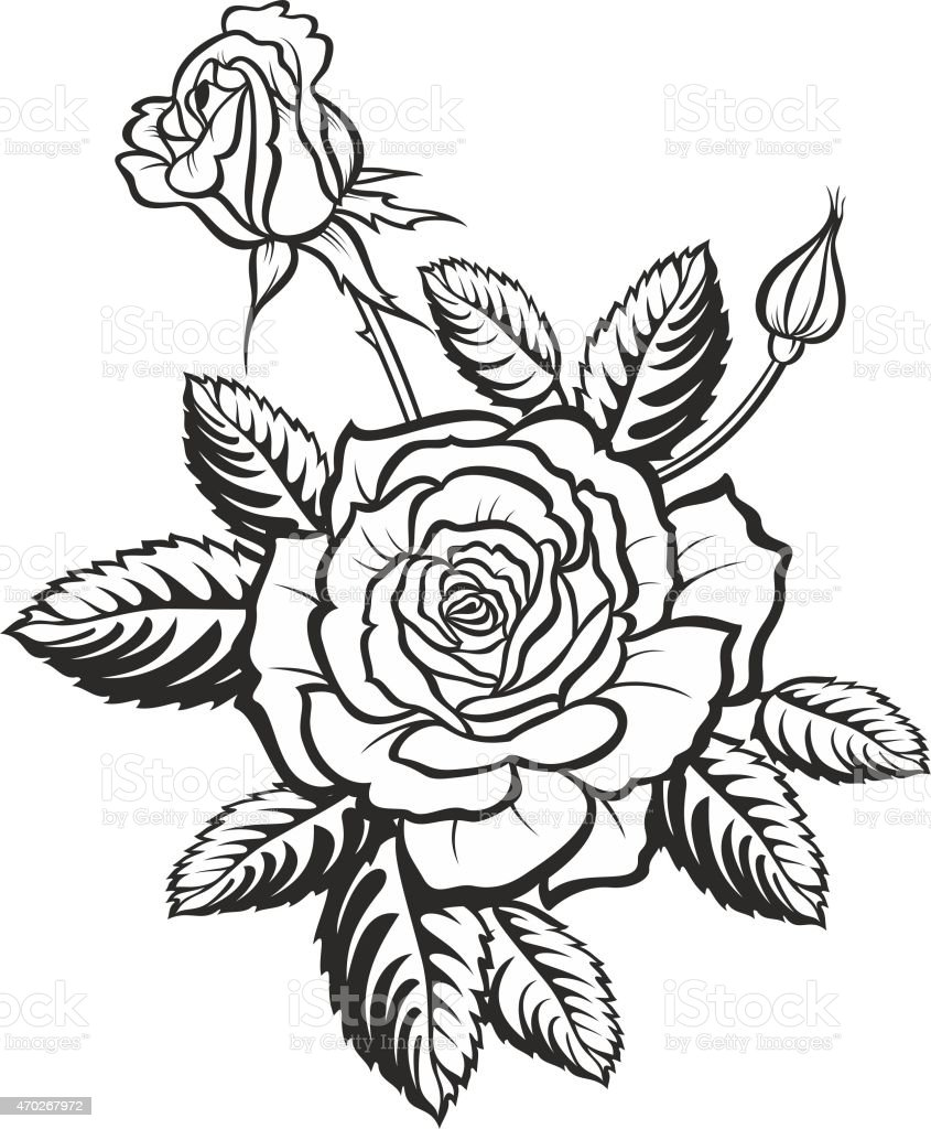 Rose Silhouette Vector Tattoo Illustration Stock Vector ...