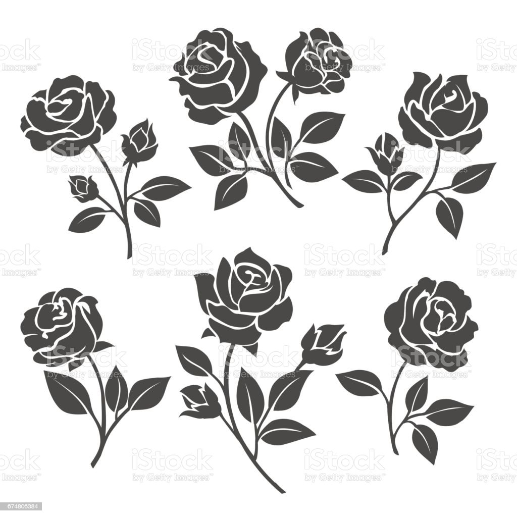Rose silhouettes decorative set