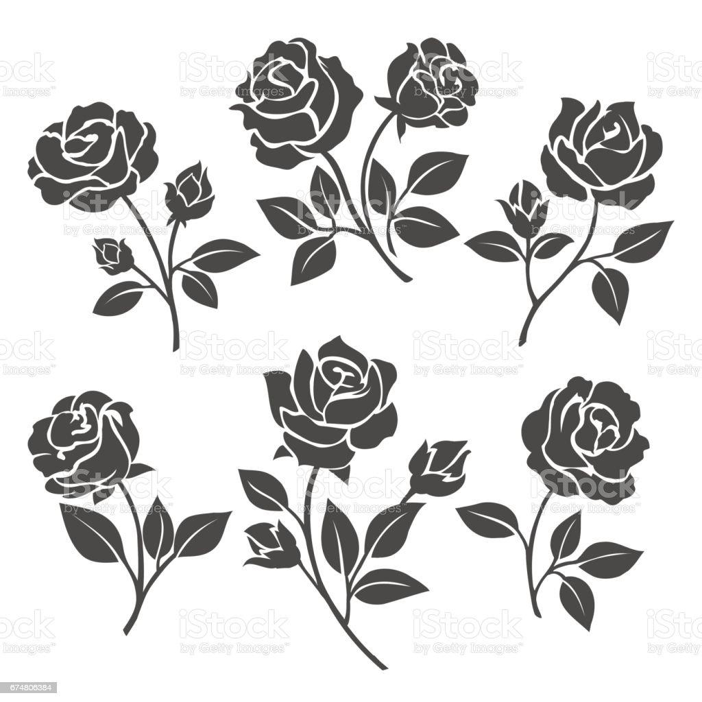 Rosa siluetas conjunto decorativo - ilustración de arte vectorial