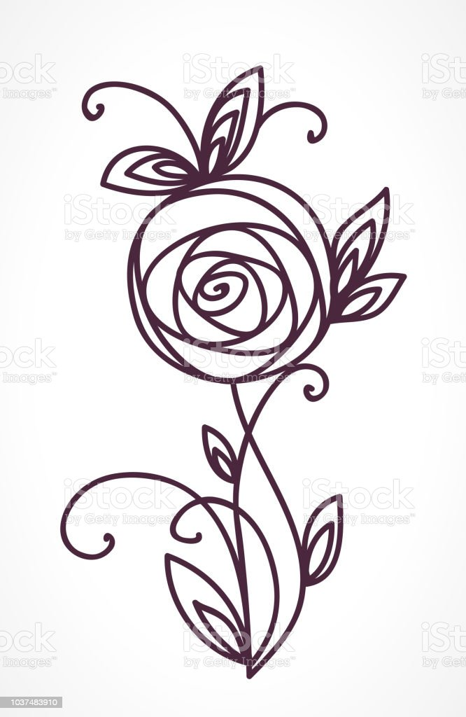 Ilustración De Color De Rosa Dibujo A Mano Bouquet Flor Estilizada Y