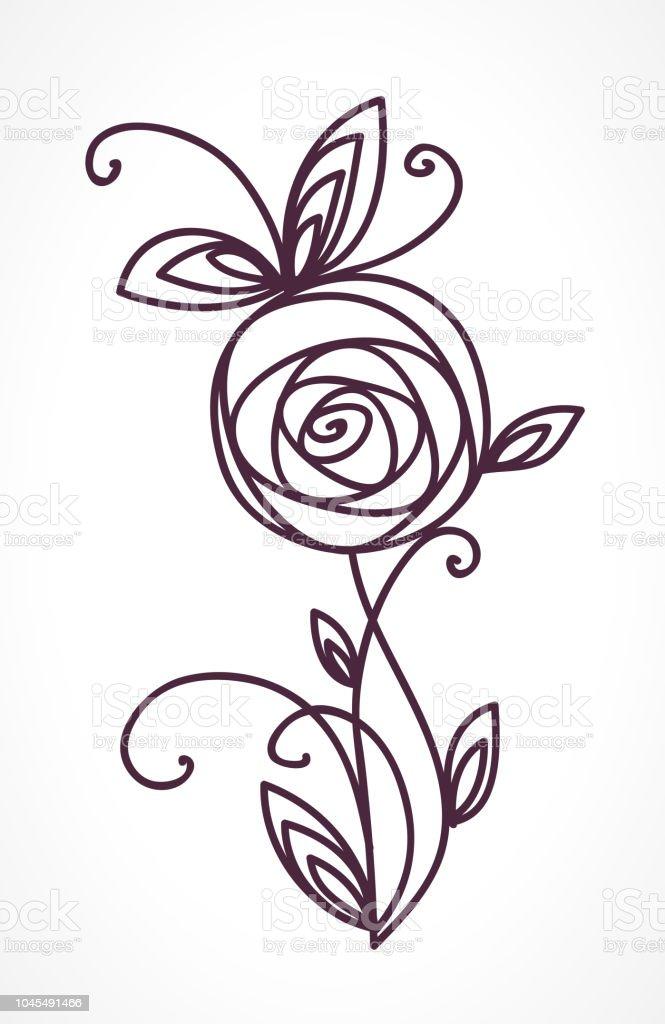 Rose Symbole De Fleur Stylisee Icone De Dessin De Main Esquisse