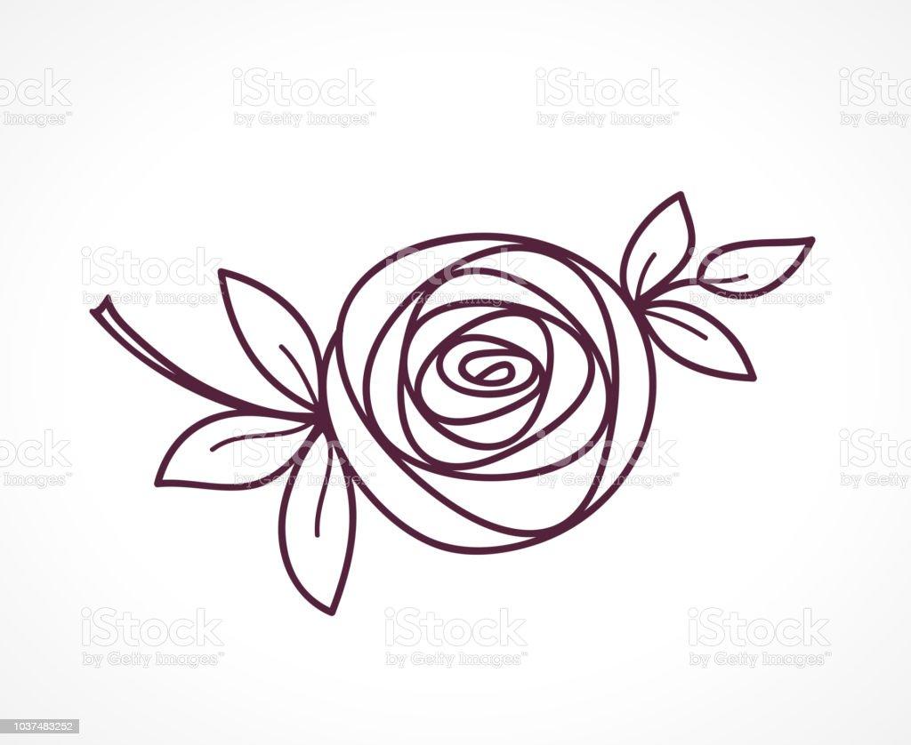 Rose Symbole De Fleur Stylisée Icône De Dessin De Main