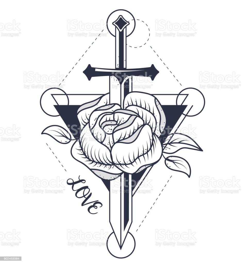 De rose tatuaje - ilustración de arte vectorial
