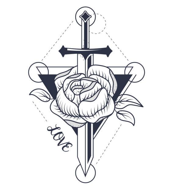 rose Tatouage - Illustration vectorielle