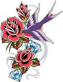 rose tattoo with diamond and bird