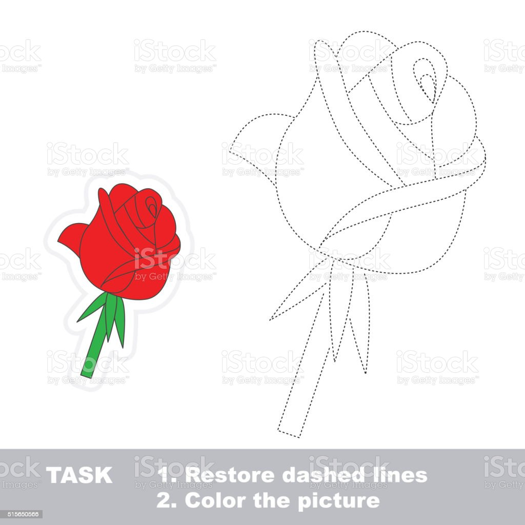 rose to be traced vector trace game royalty free stock vector art