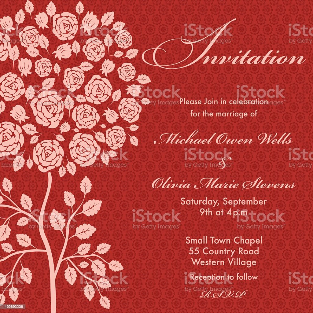 Rose Tree Wedding Invitation Pink On Red Background Stock Vector Art ...