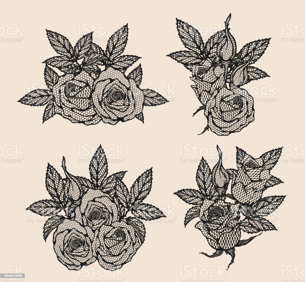 Rose vector lace by hand drawing royalty-free rose vector lace by hand drawing stock vector art & more images of no people