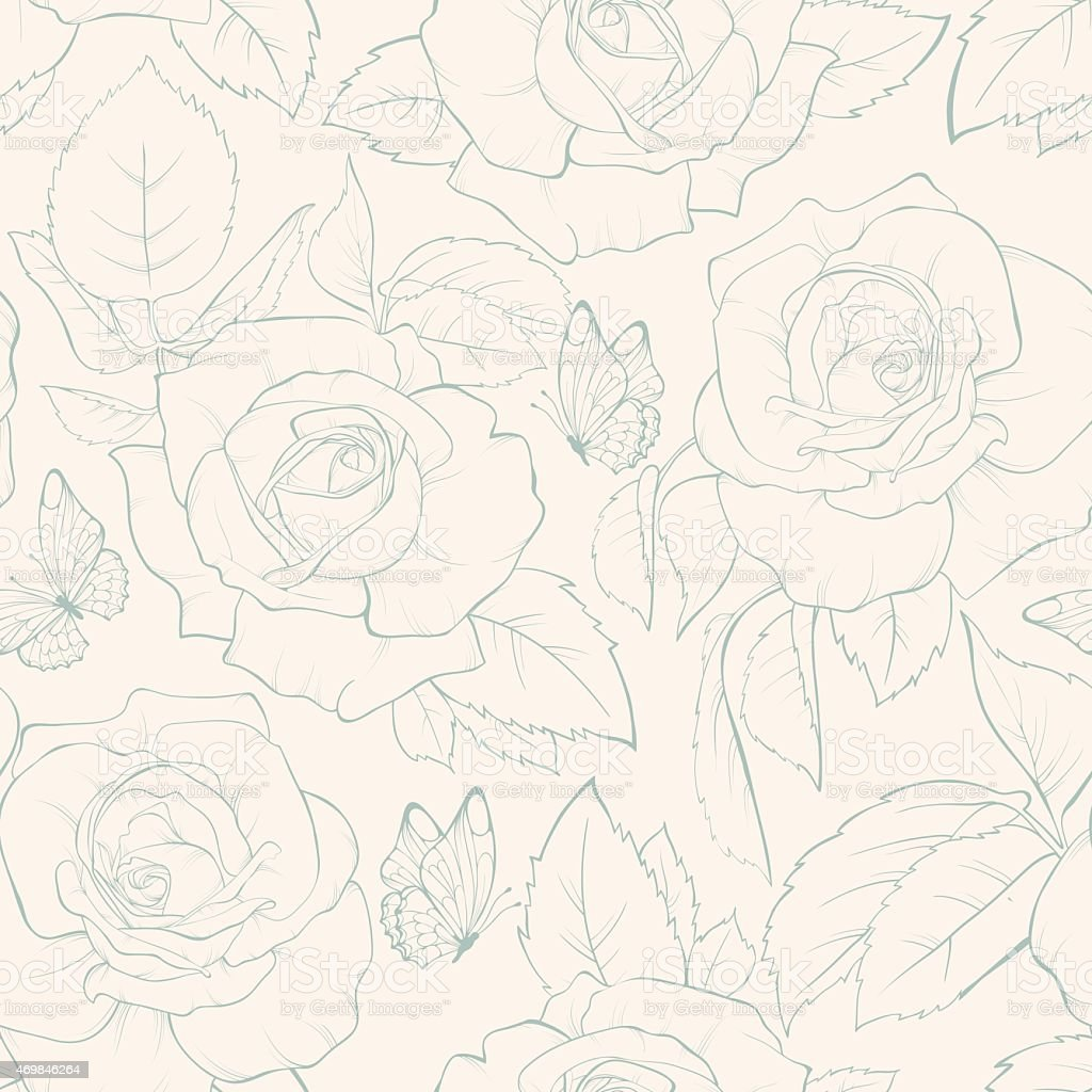 Rose vector seamless pattern with butterfly. vector art illustration