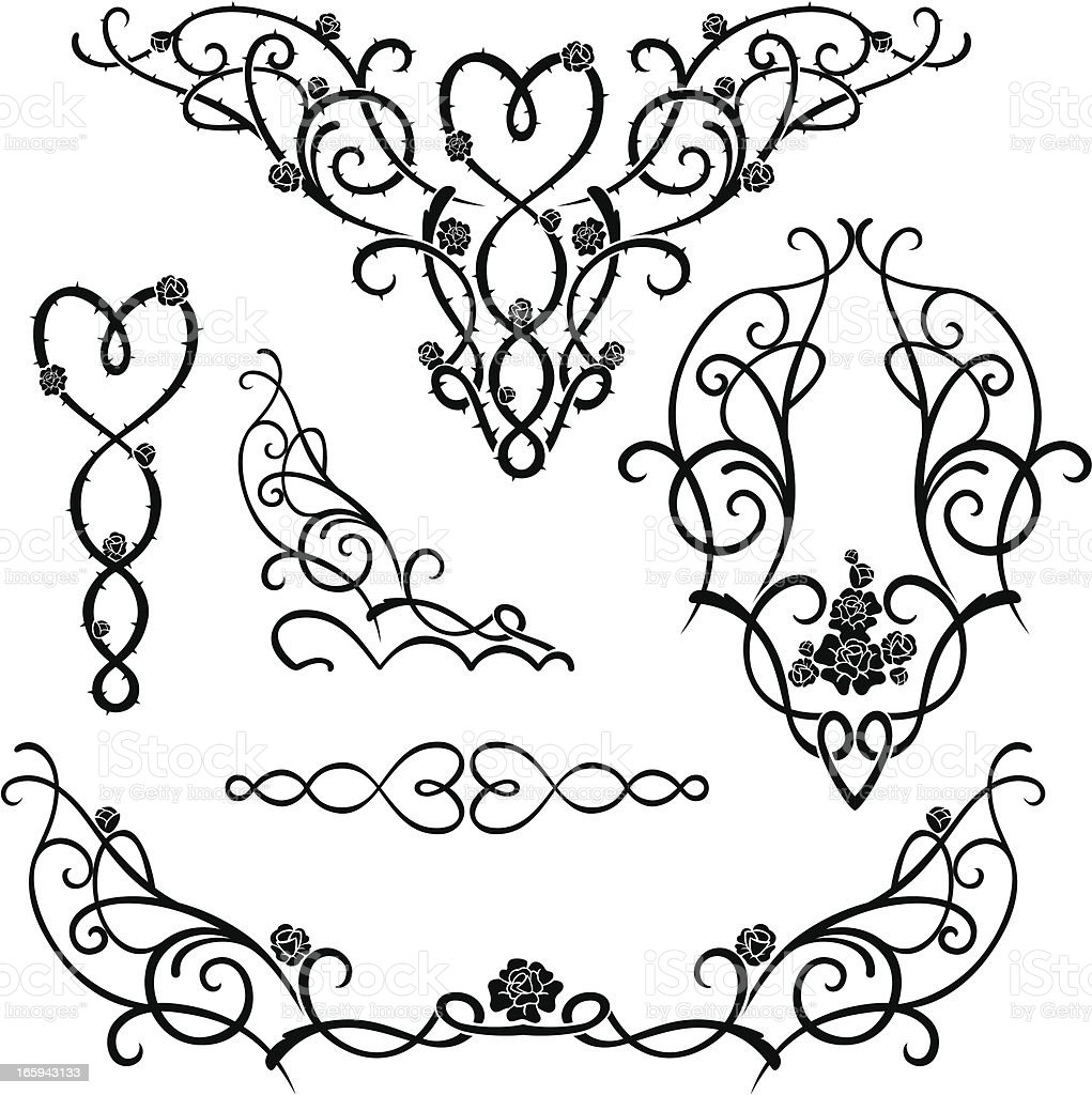 Rose Vine Ornaments vector art illustration