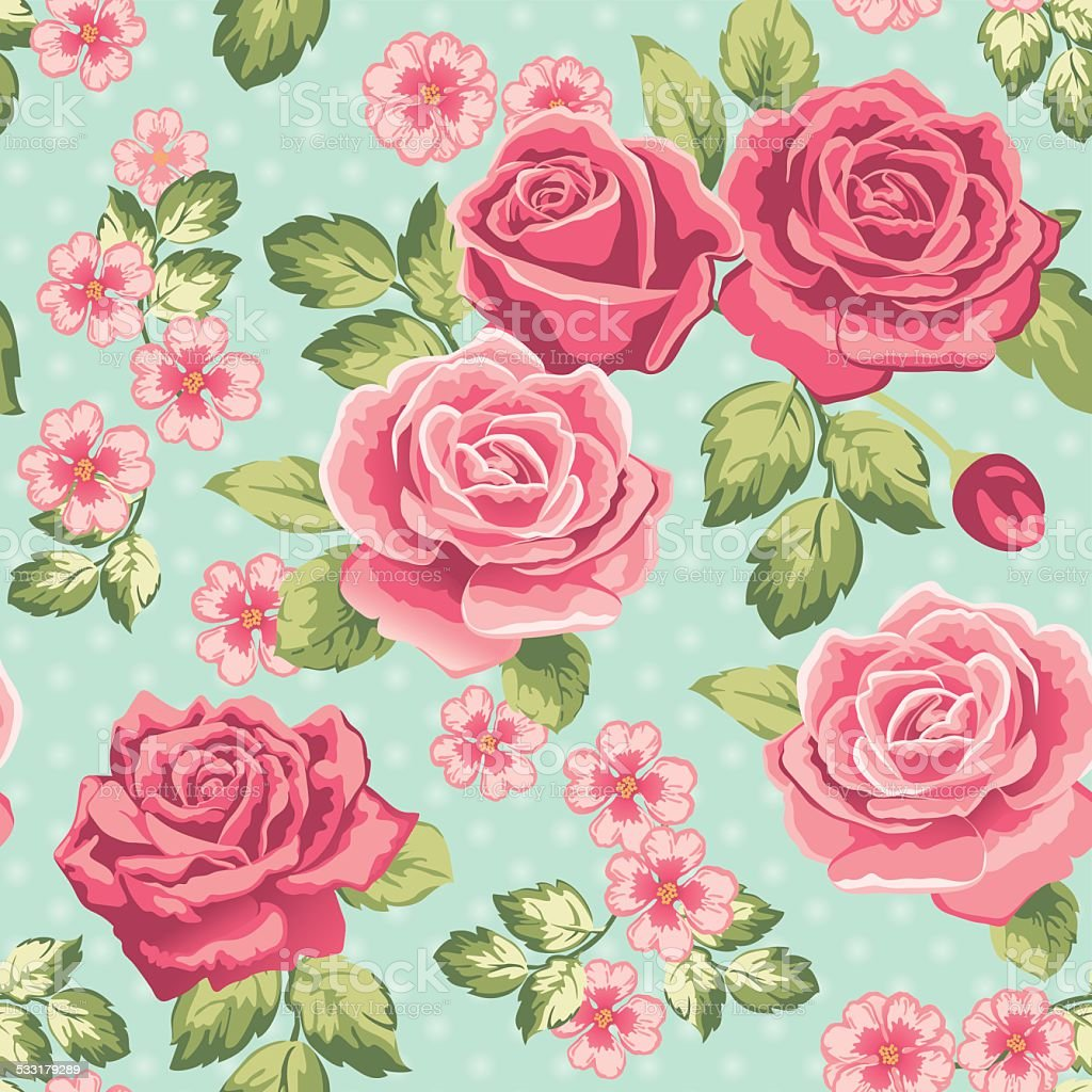 Rose wallpaper on a blue background vector art illustration