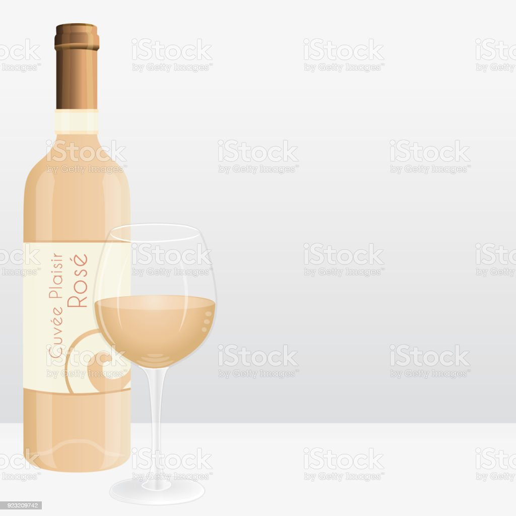 Rose Wein Flasche Und Glas Wein Marketingvektorillustration ...