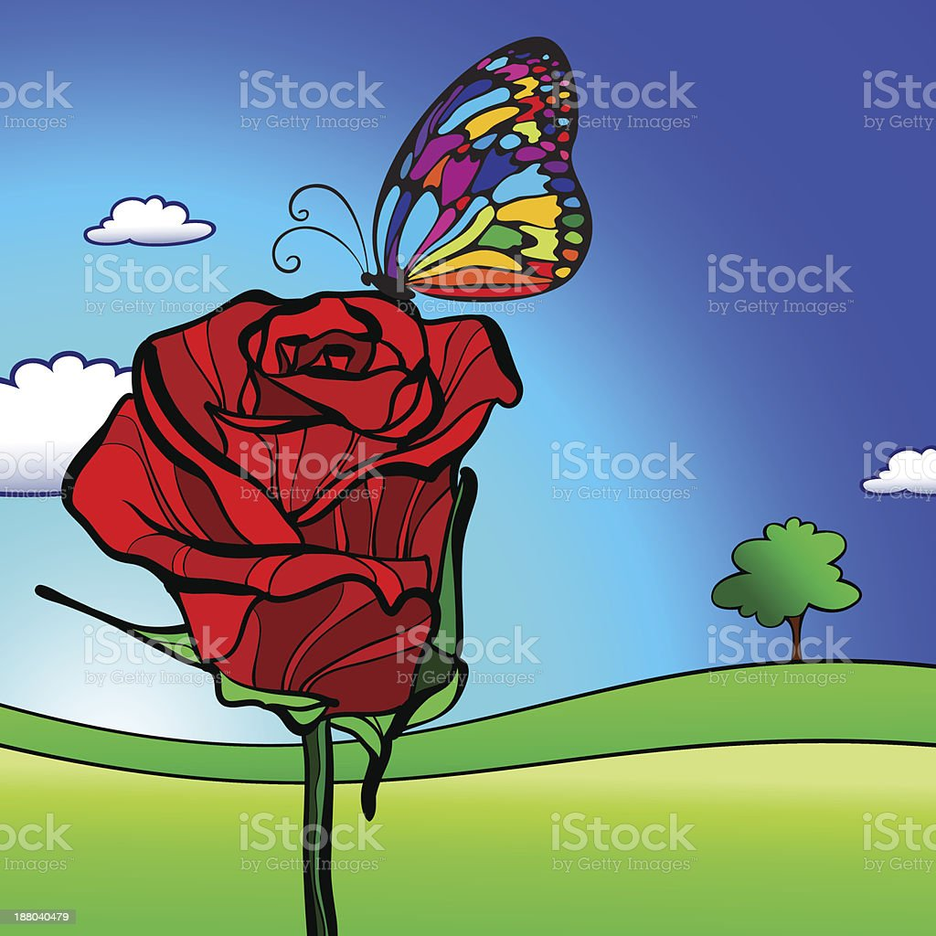 Rose with butterfly royalty-free rose with butterfly stock vector art & more images of backgrounds
