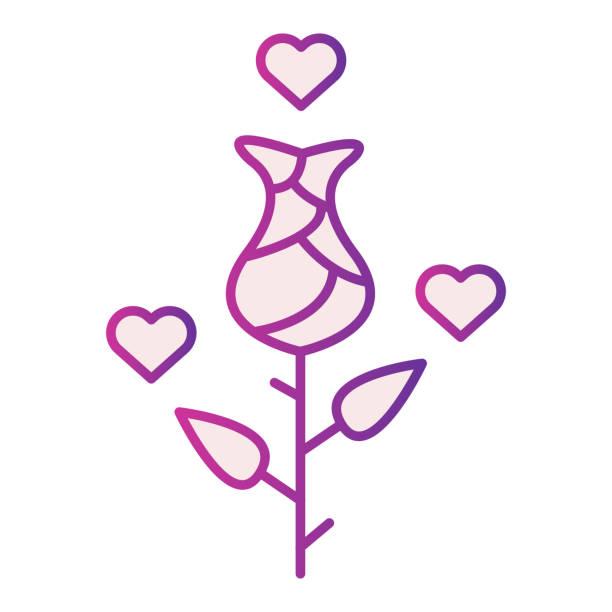 stockillustraties, clipart, cartoons en iconen met nam met harten vlak pictogram toe. de bloem van de roos met hartbellenillustratie die op wit wordt geïsoleerd. valentine day rose met harten gradiënt stijl ontwerp, ontworpen voor web en app. eps 10. - flirten