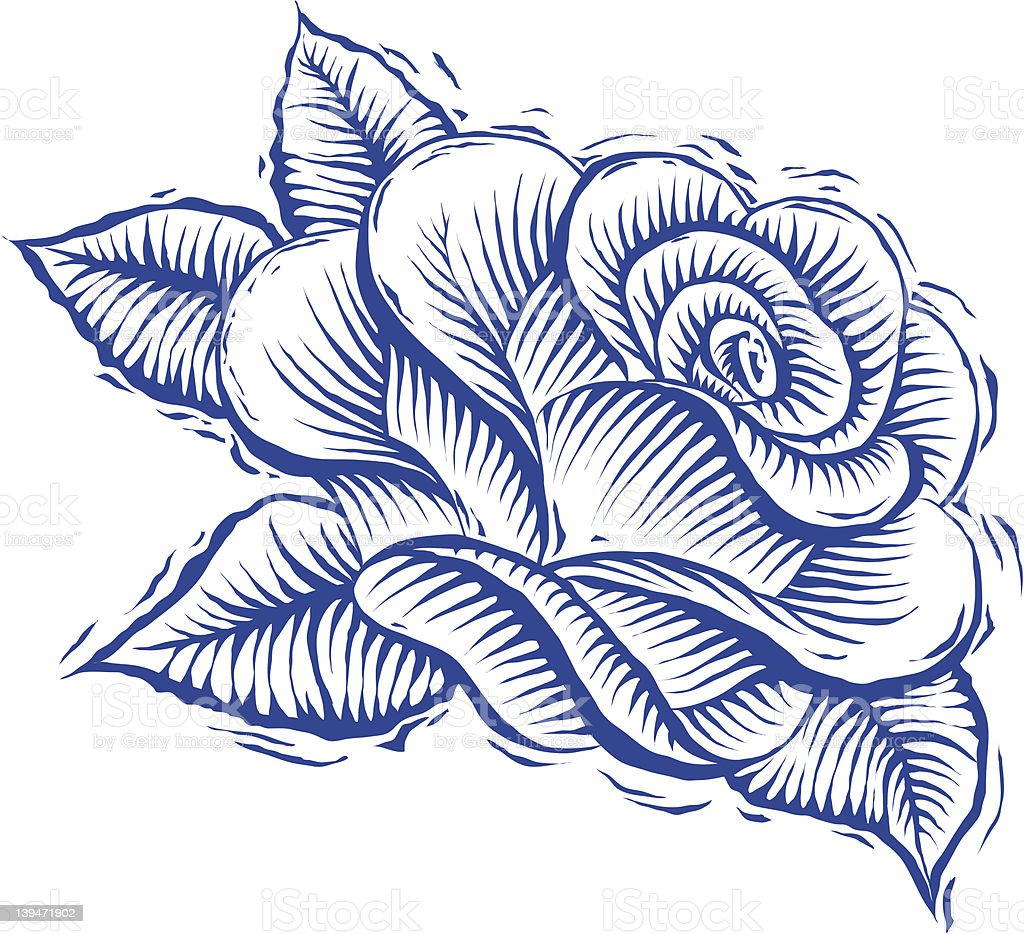 Rose Woodcut royalty-free stock vector art