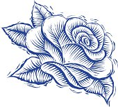 A classic rose in a single layer illustration in woodcut style.