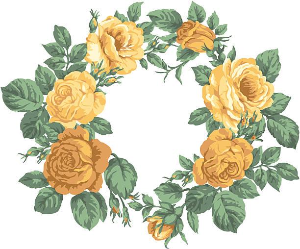 Rose wreath vector art illustration
