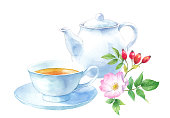 istock Rosehip tea. Watercolor illustration trace vector. Layout can be changed. 1314170267