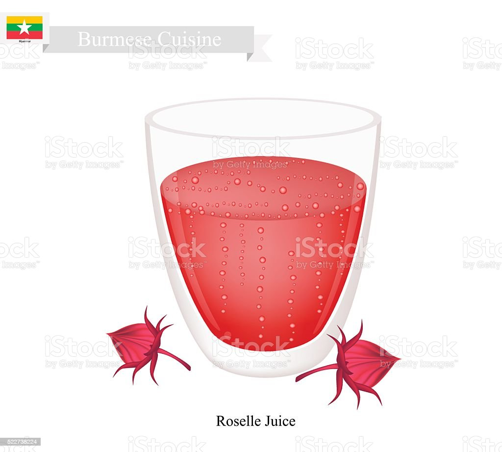 Roselle Juice, A Famous Beverage in Myanmar vector art illustration