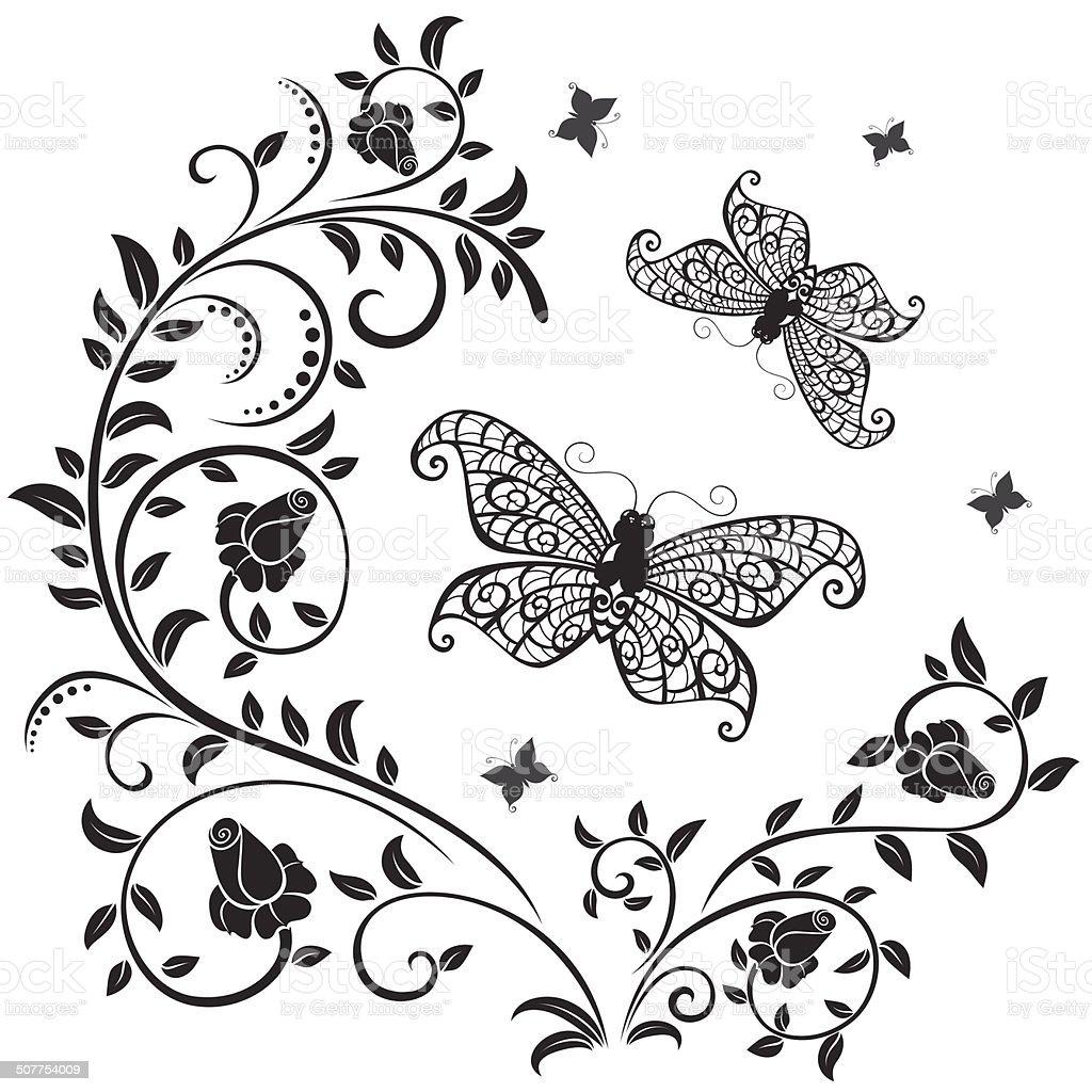Roses et papillons silhouette - Illustration vectorielle