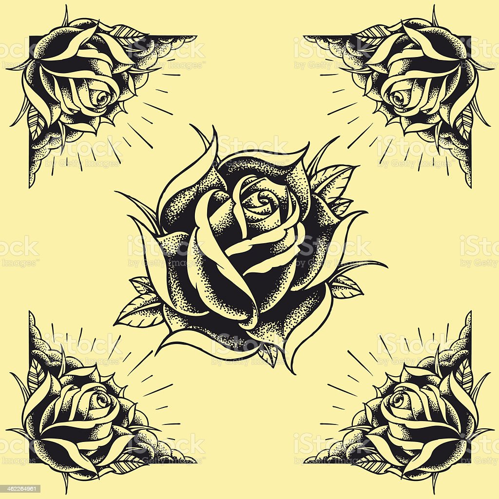 Roses and Frame Tattoo style design vector art illustration
